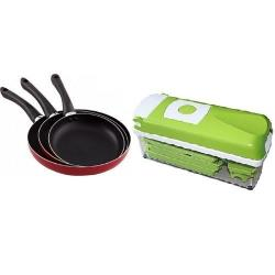 Home Choice Kitchen Bundles - Non-Stick Fry Pan Set Of 3 + Nicer Dice