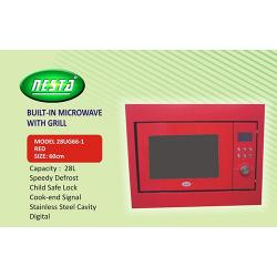 NESTA 60CM BUILT IN MICROWAVE WITH GRILL |28UG66-1| (RED)