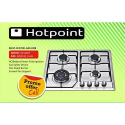 HOTPOINT BUILT IN STEEL GAS HOB |QM4007|