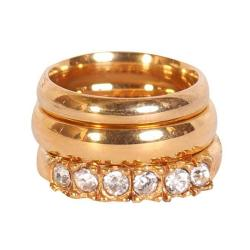 Gold Plated Truded Wedding Ring Set